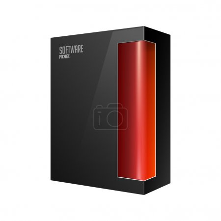 Black Modern Software Product Package Box With Red Window For DVD Or CD Disk EPS10