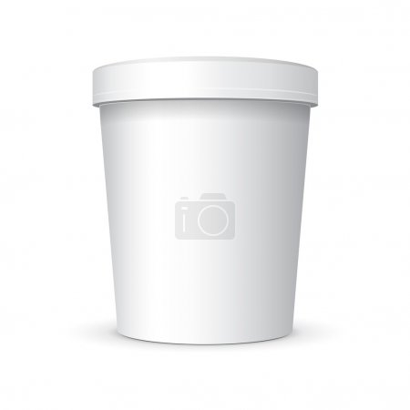 White Food Plastic Tub Bucket Container With Handle For Dessert, Yogurt, Ice Cream, Sour Sream