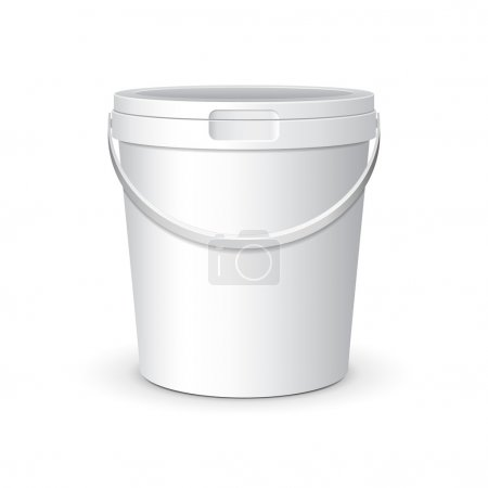 White Food Plastic Tub Bucket Container With Lid Cap For Dessert, Yogurt, Ice Cream, Sour Sream Or Snack. Ready For Your Design. Product Packing Vector EPS10