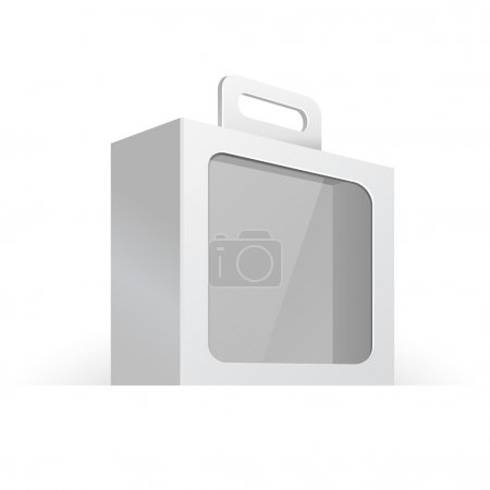 Carton Or Plastic White Blank Package Box With Handle And Rounded Window