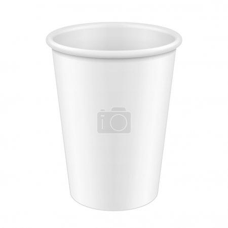 White Tall Disposable Paper Cup. Container For Coffee, Java, Tea, Cappuccino