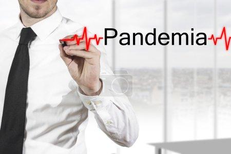 Doctor writing pandemia heartbeatline