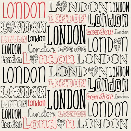 Illustration for Handwritten London word seamless background pattern - Royalty Free Image