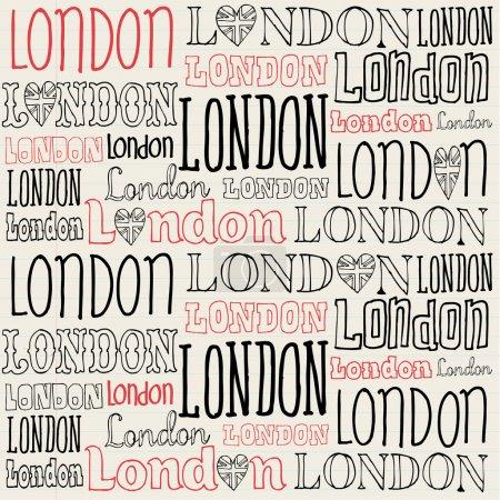 Ilustración de Patrón de fondo transparente de palabra de Londres manuscrita - Imagen libre de derechos