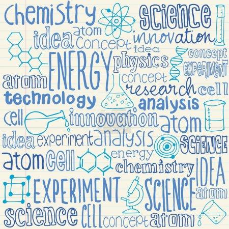 Illustration pour Science des mots et doodles ensemble, texture - image libre de droit