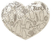Beer icons  in heart shape
