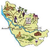 Map wine region of Bordeaux in France