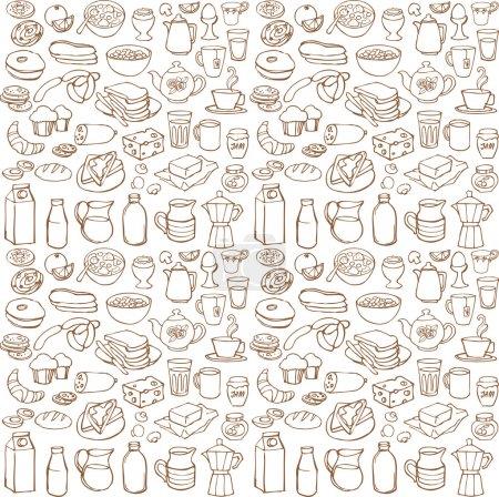 Illustration pour Diverses icônes de petit déjeuner brun motif de fond - image libre de droit