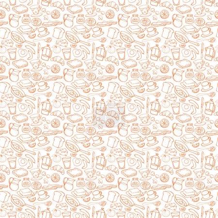 Photo pour Petit déjeuner icônes orange fond de motif sans couture - image libre de droit