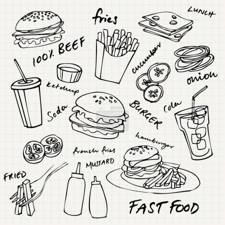 Illustration pour Ensemble vectoriel hamburger Fast Food - image libre de droit