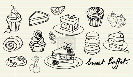 Illustration pour Ensemble vecteur de gribouillis de gâteaux et de boulangerie - image libre de droit