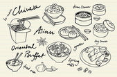 Chinese food vector drawings set