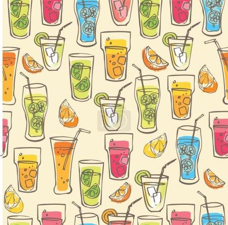 Illustration pour Boissons cocktail illustration vectorielle motif jaune - image libre de droit