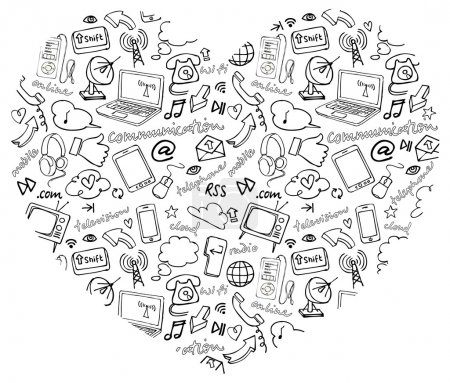 Internet icons in heart shape