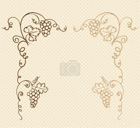 Illustration pour Cadre décoratif d'ornement vecteur de raisin et de vigne - image libre de droit