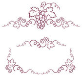 Decorative grapes & vine vector ornament frame
