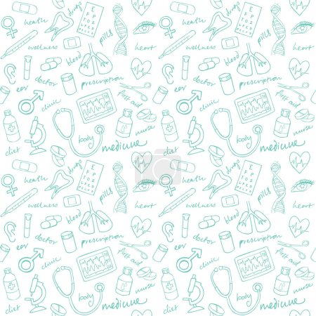 Illustration for Medicine icons vector seamless pattern background - Royalty Free Image