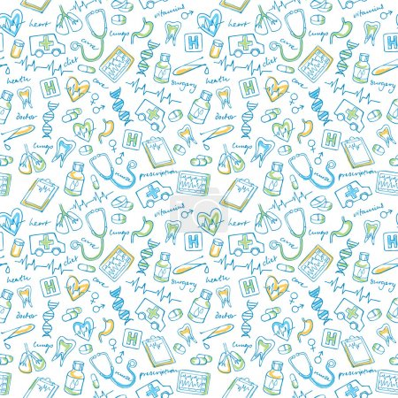 Illustration for Medical icons vector seamless pattern background - Royalty Free Image