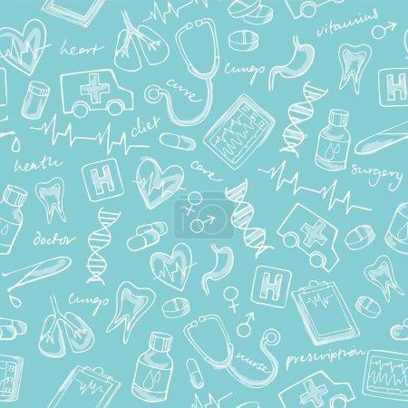 Illustration pour Icônes de médecine motif de fond sans couture - image libre de droit
