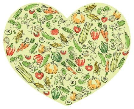 Vegetables in heart