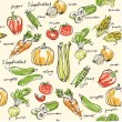 Assorted vegetables seamless vector pattern...