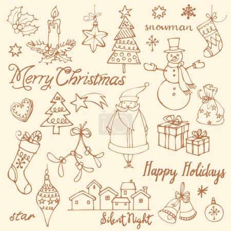 Illustration pour Icônes de Noël assorties doodle vector - image libre de droit