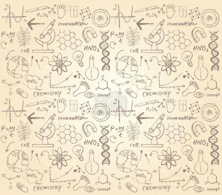 Illustration pour Science vectorielle doodle fond sans couture - image libre de droit
