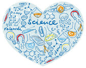 Science icons in heart