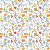 Science doodles seamless vector background