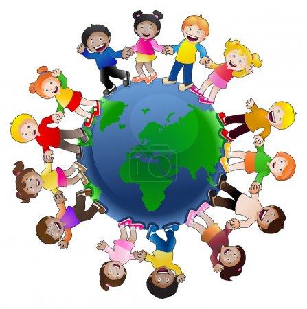 Photo pour Illustration des enfants multi-culturelle main dans la main autour du globe, symbolisant l'unité mondiale et la paix, isolé sur fond blanc - image libre de droit