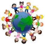 Illustration of multi-cultural children holding ha...
