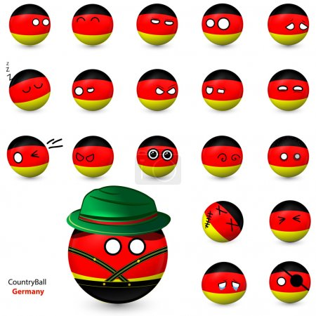 Country Ball - set of smileys Germany