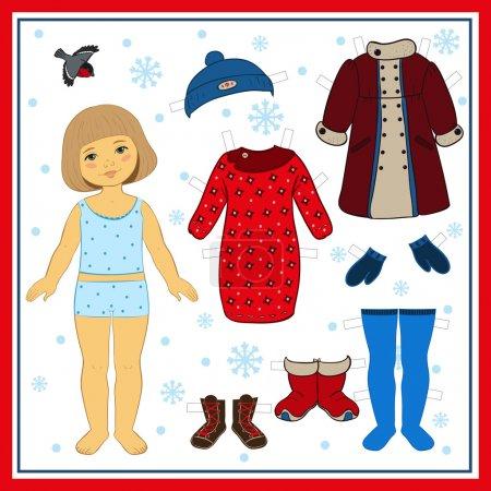 Winter paper doll