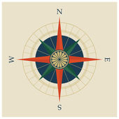 Vector illustration of compass rose or wind rose with compass points and cardinal wind directions