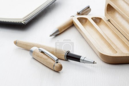Wooden ball pen and roller pen with leather notebo...