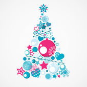Abstract blue and pink Christmas tree