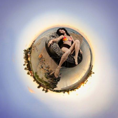 Sunset beach microworld