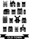 Set of urban homes in black and white color palette