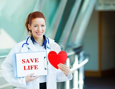 Doctor holding save life sign