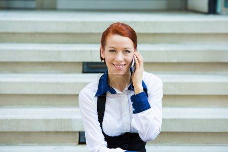 Portrait corporate woman talking on smart phone