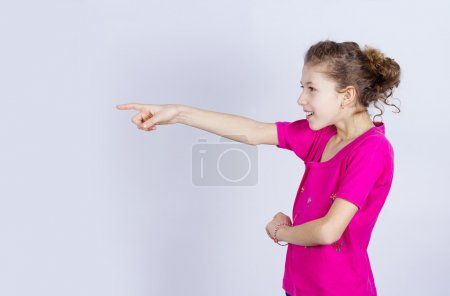 Girl pointing at someone