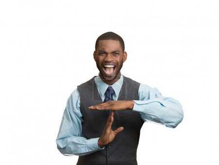 Angry man boss screaming to stop, giving time out gesture