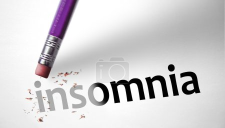 Photo for Eraser deleting the word Insomnia - Royalty Free Image