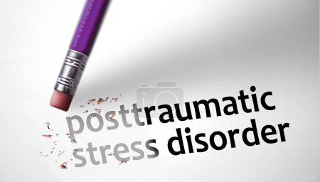 Photo for Eraser deleting the concept Posttraumatic Stress Disorder PTSD - Royalty Free Image