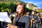 MALAGA, SPAIN - APRIL 09: Nazarenes and musicians from Semana Sa