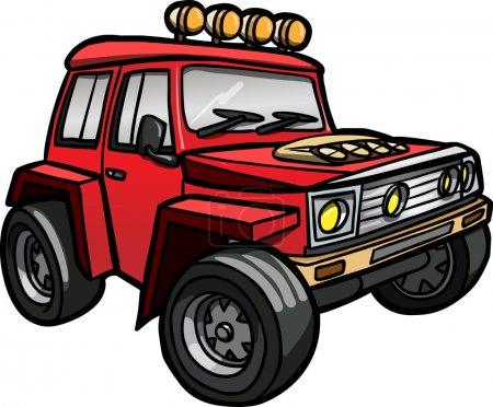Illustration of a cartoon red jeep. Isolated. Colored