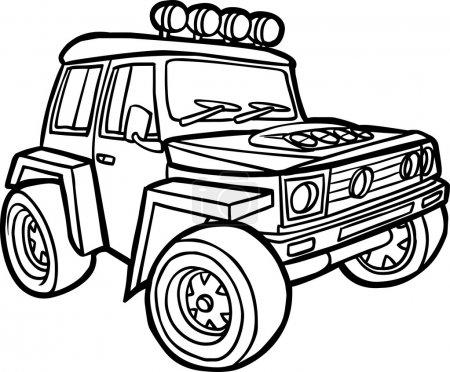 Cartoon jeep. Border
