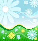 Background with flowers and wavy lines