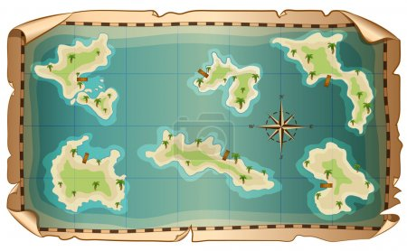 Illustration of  map of pirate with islands