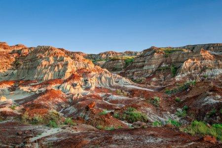 Photo pour Près du coucher du soleil sur les badlands de Drumheller au parc provincial Dinosaur en Alberta, où de riches gisements de fossiles, y compris des os de dinosaures, ont été découverts. Le parc est maintenant inscrit au patrimoine mondial de l'UNESCO . - image libre de droit